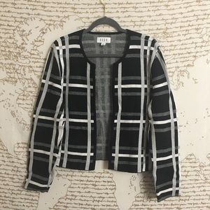 Elle Black and White Open Front Plaid Cardigan